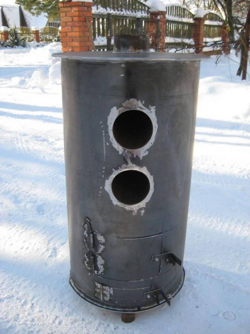 Печь для гаража из трубы 500 мм своими руками 61