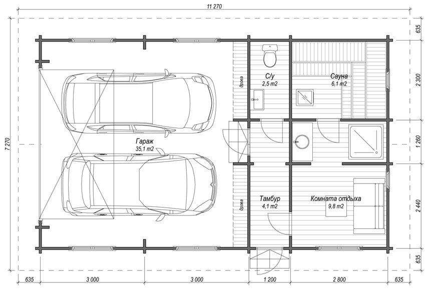 Деревянный гараж в рязани под ключ