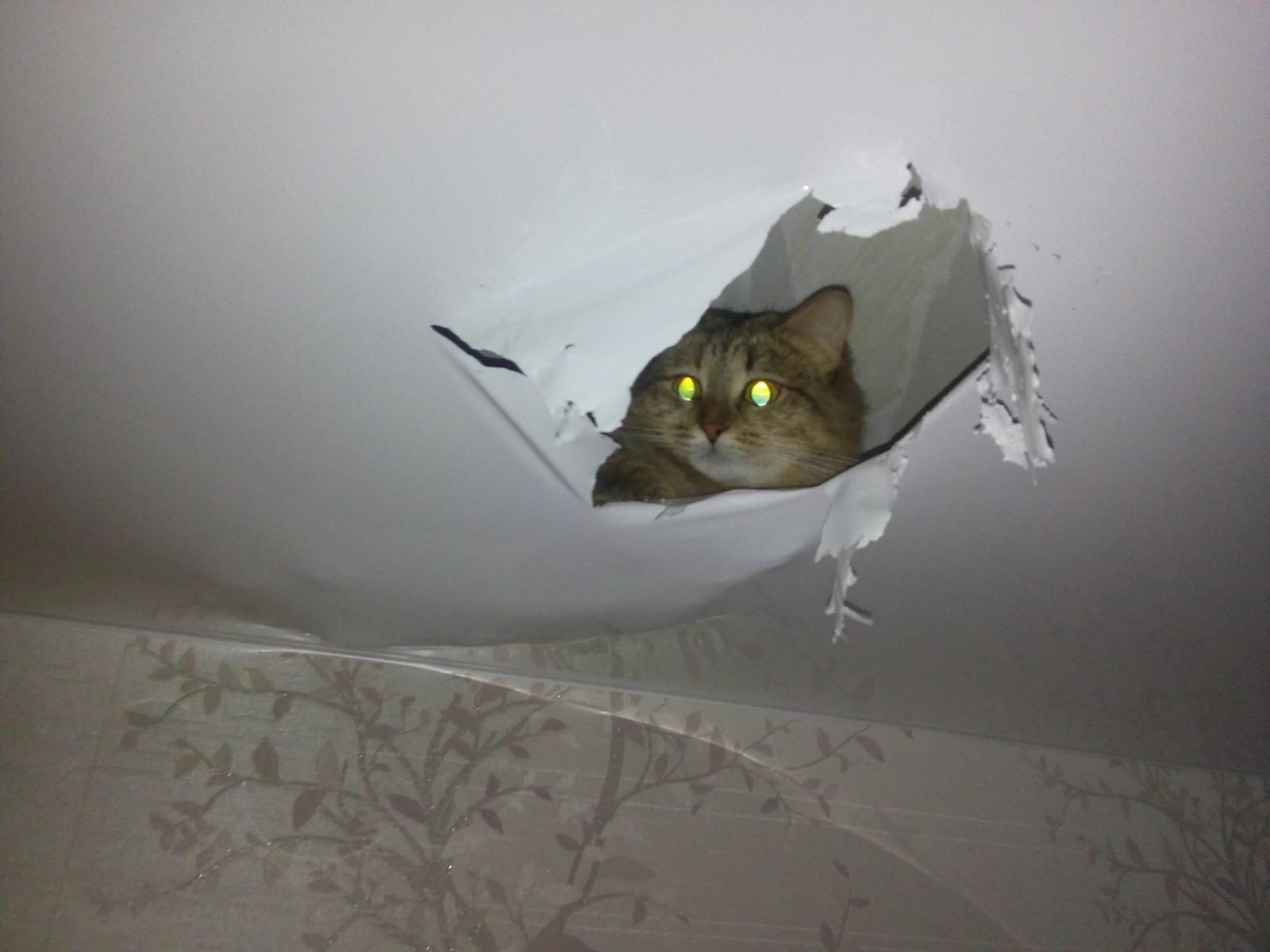 Как сделать отверстие в натяжном потолке после установки