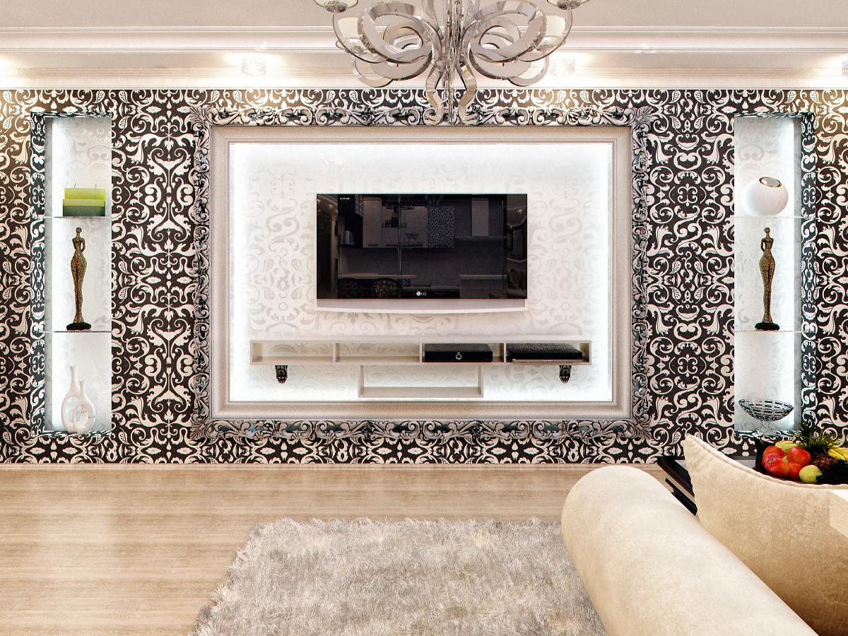 Дизайн стены с телевизором в стиле