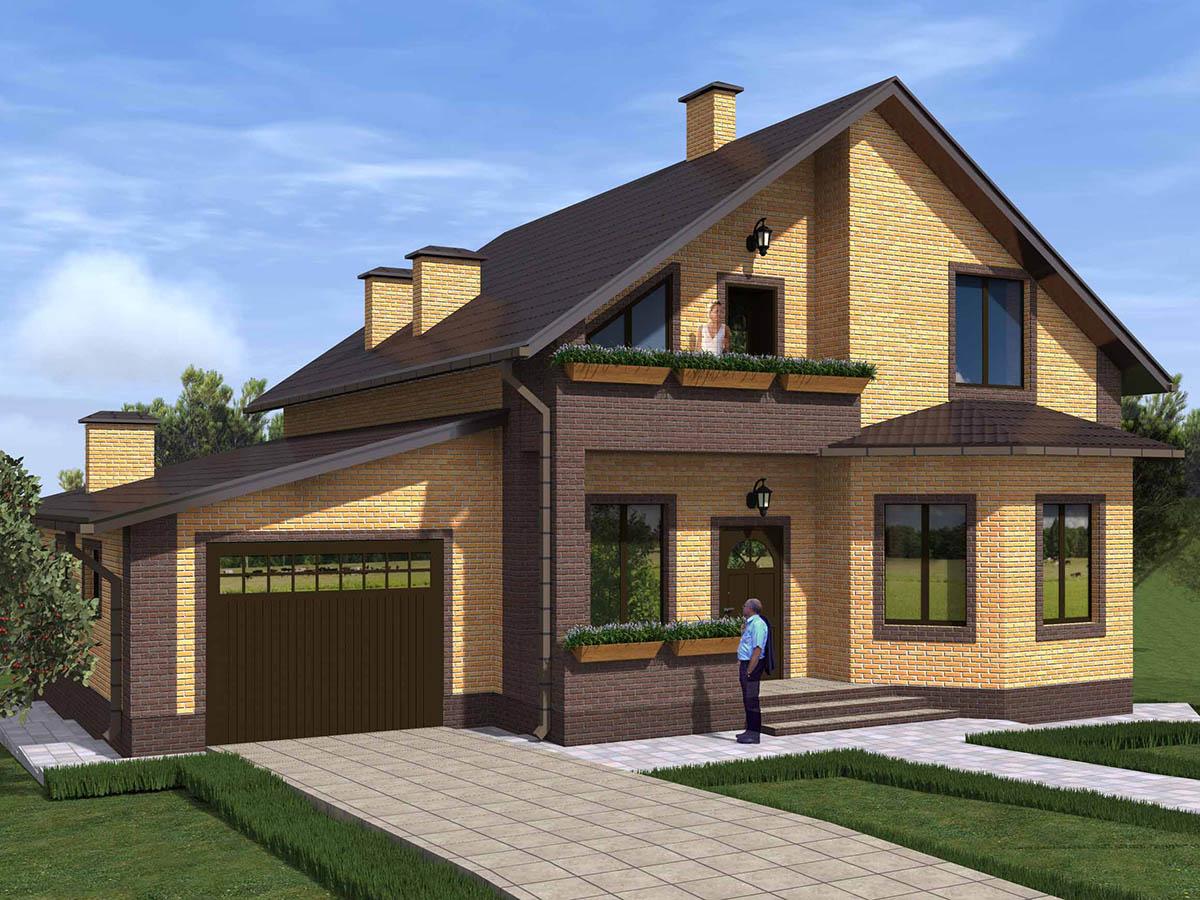 Двухэтажный дом с гаражом проект и фото
