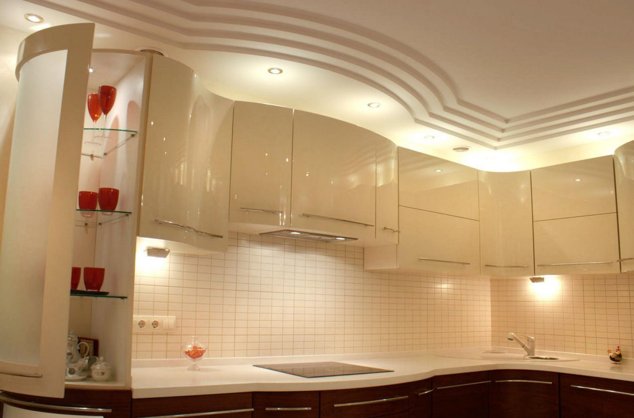 Фото дизайн потолков кухни гипсокартон
