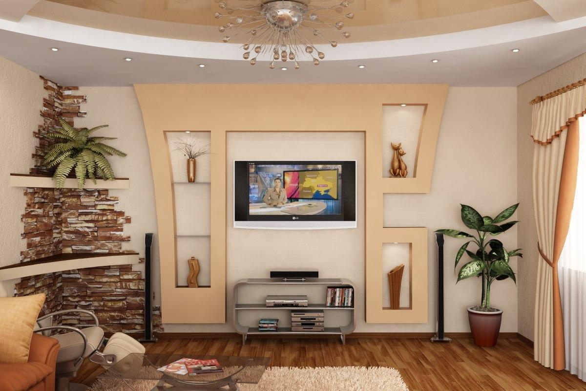 гипсокартонные конструкции под телевизор фото расположение рядом