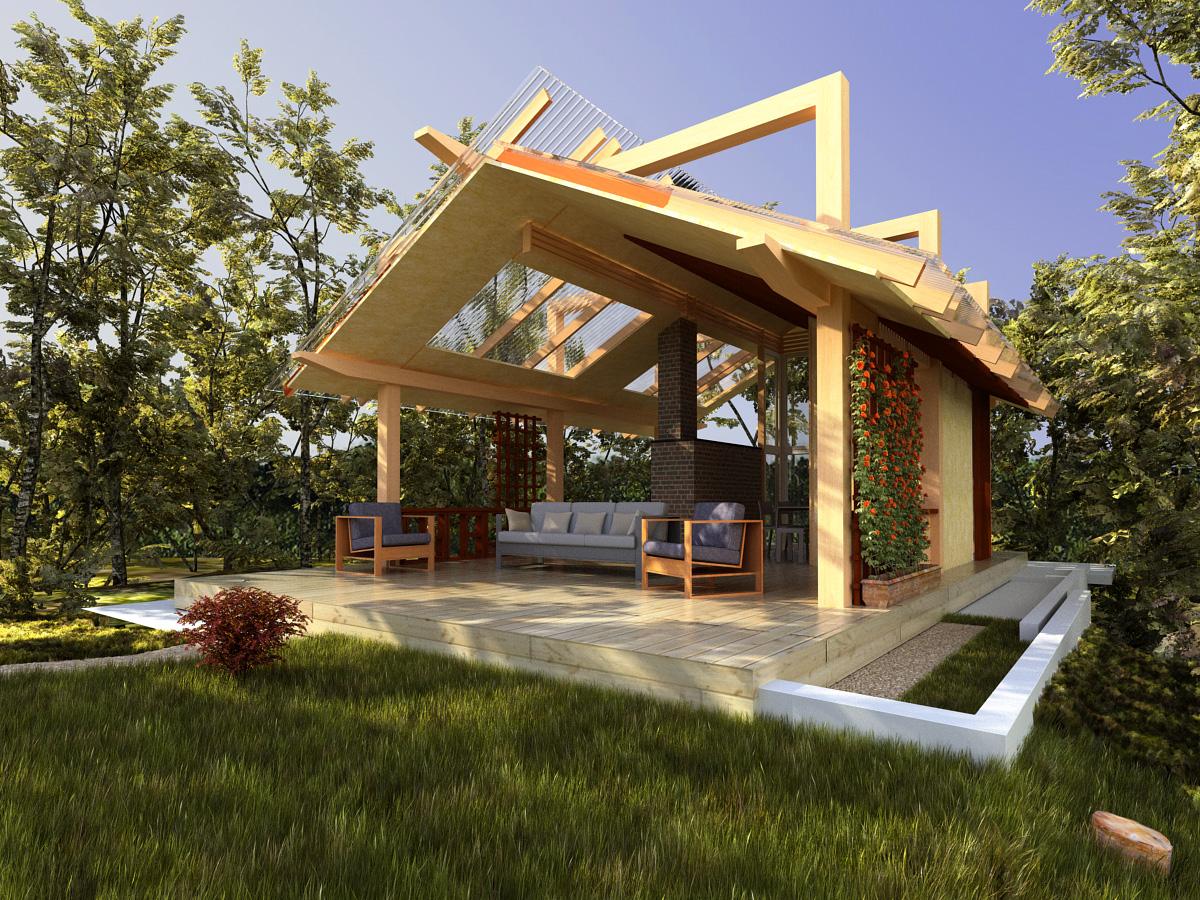 Очень простая конструкция летней кухни своими руками: проект с верандой в частном доме, как построить из бруса