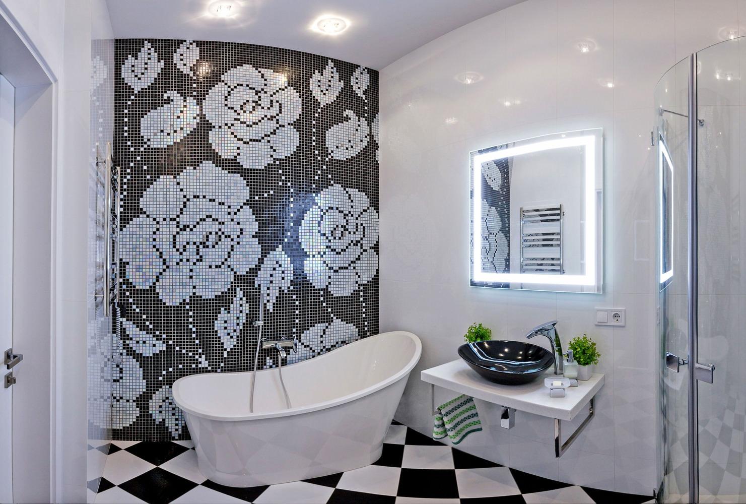 дизайн черно белой ванной комнаты 40 фото сочетание с красным в