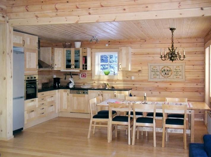 кухня в бревенчатом доме 45 фото интерьер комнаты в жилище из
