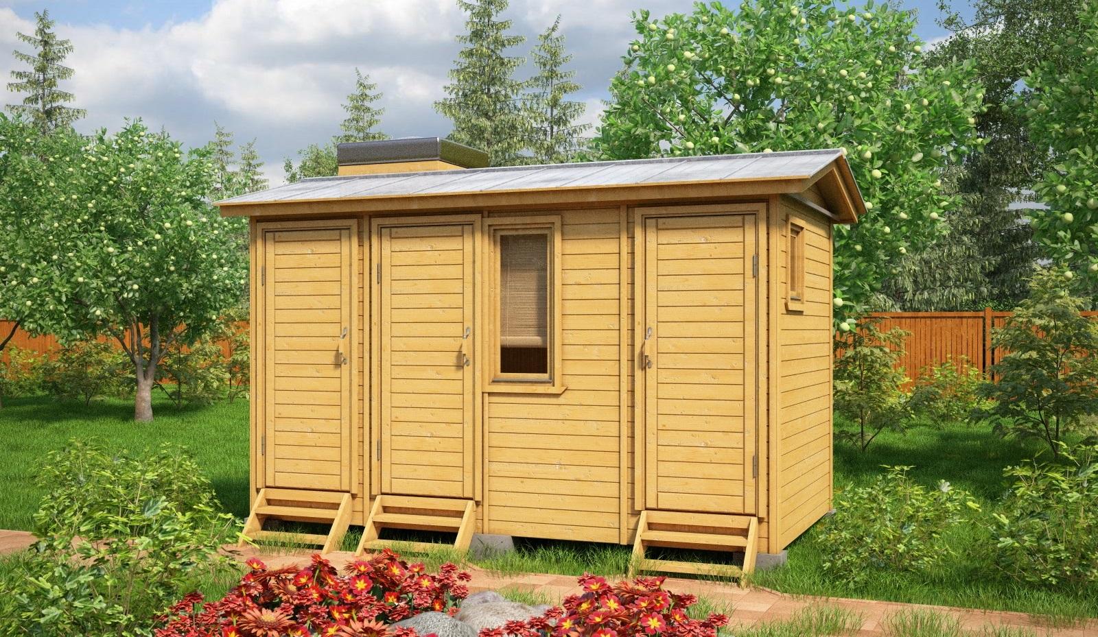 Душ и туалет для дачи под одной крышей