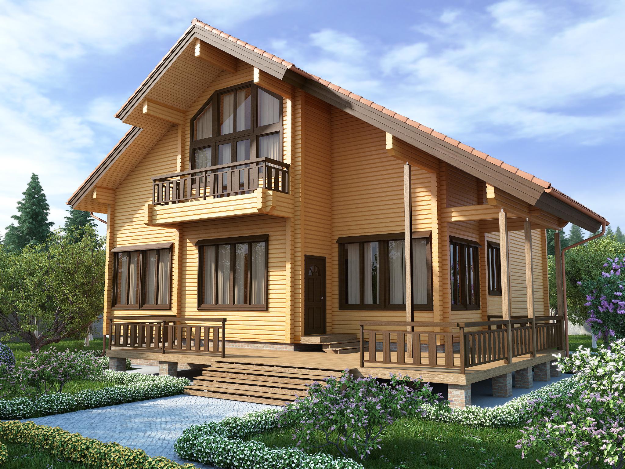 какой построить дом из бруса фото образом производителю