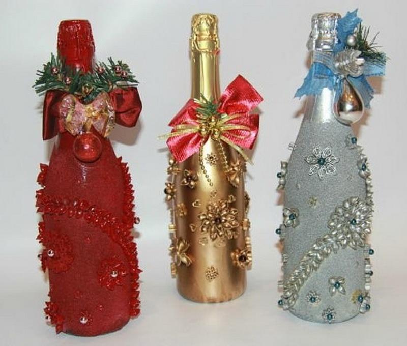 Новогоднее шампанское: как украсить бутылку на Новый год 2019 своими руками? изоражения