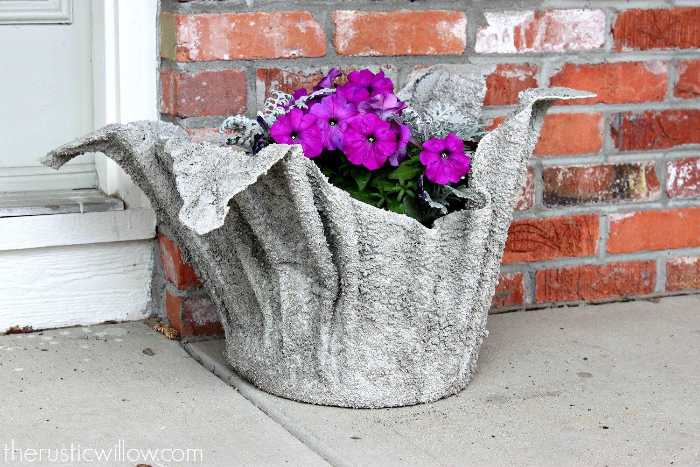 Вазы из цемента и ткани своими руками для сада фото 617