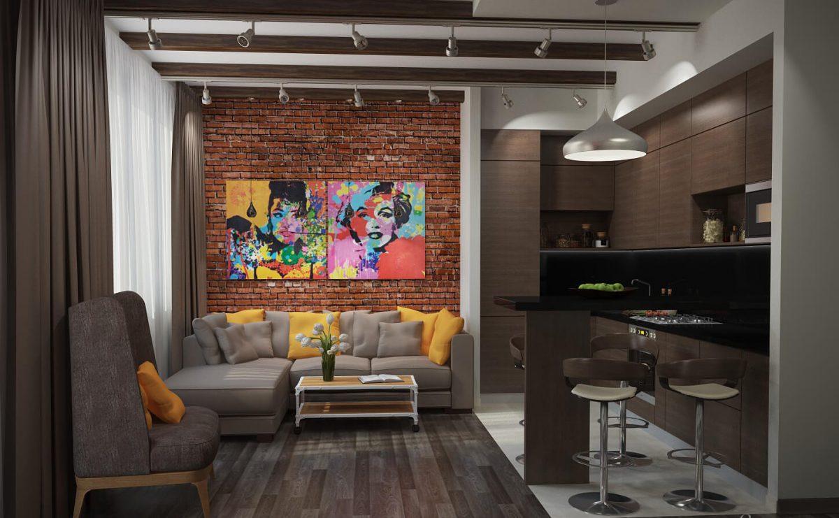 кухня гостиная в стиле лофт 34 фото идеи дизайна совмещенного зала