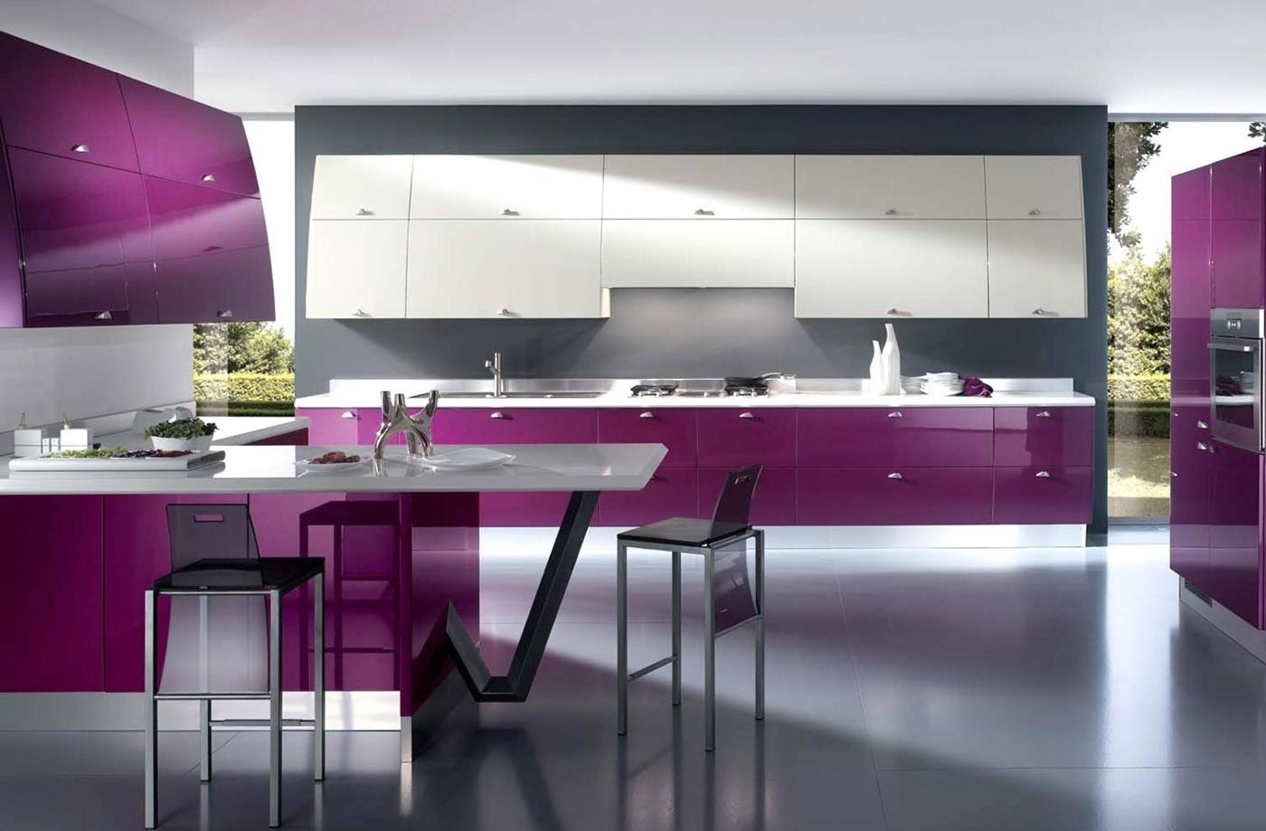 кухонные гарнитуры сиреневого цвета фото при помощи рисования