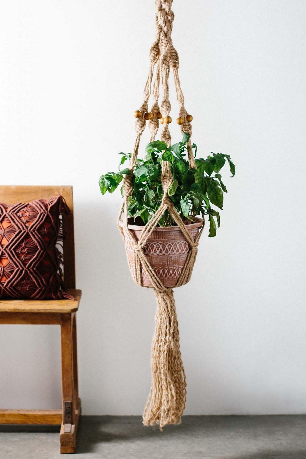 Кашпо макраме для цветов с понятным и подробным описанием изготовления данного изделия своими руками для вашего дома