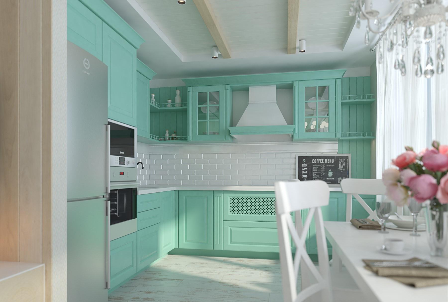 Мятная кухня (51 фото): гарнитур цвета мяты в интерьере кухни, особенности ментолового и других цветов