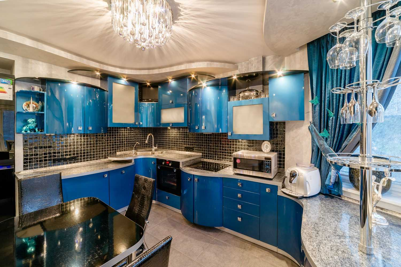 сделать дизайн кухни в синем цвете фото бор погода