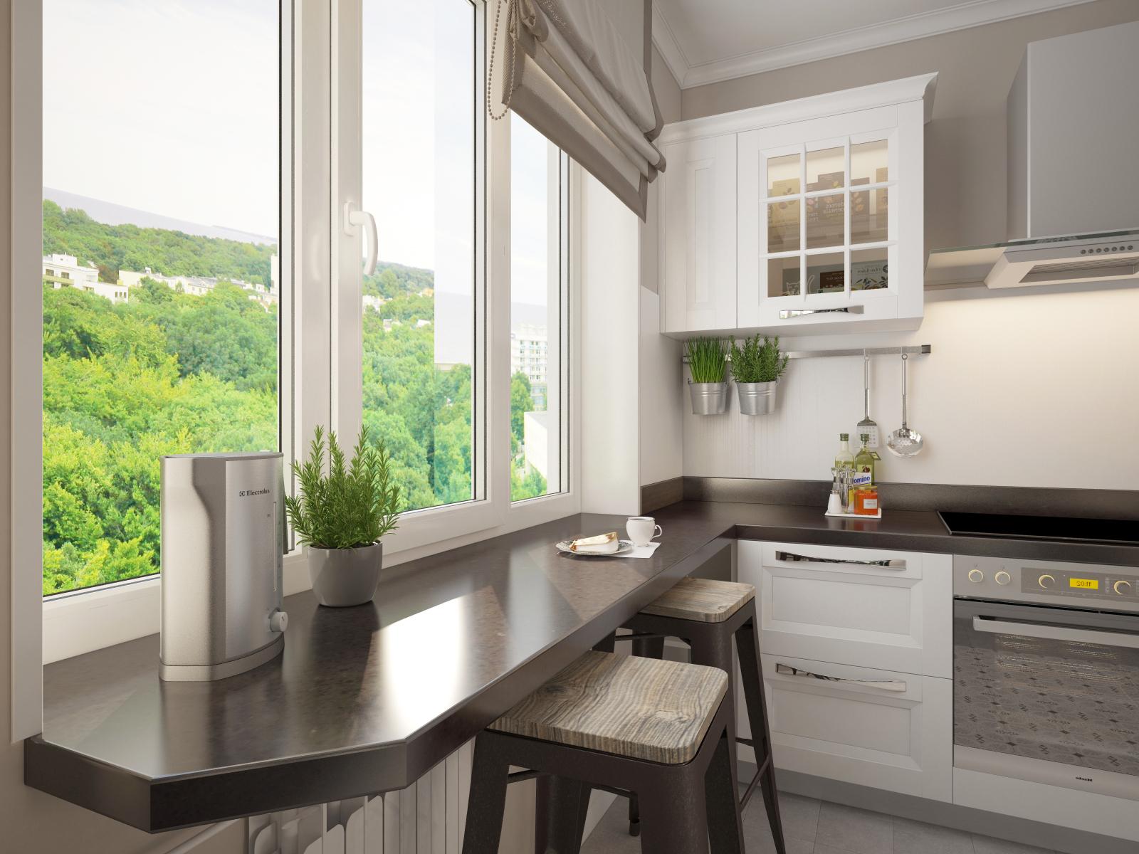 Картинки дизайн маленькой кухни используя подоконник