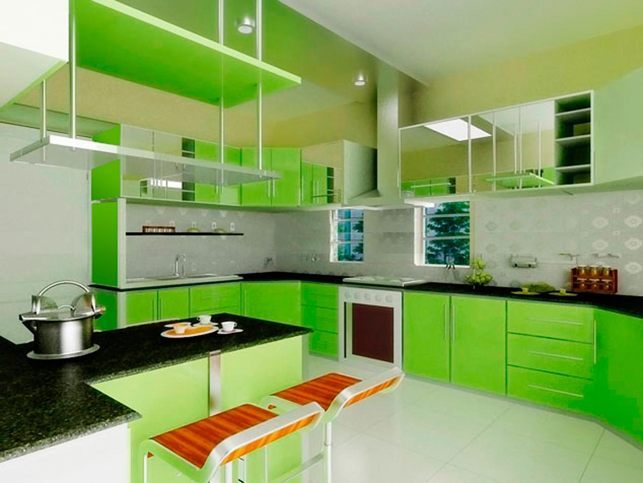 кухня в зеленых тонах дизайн фото помощью