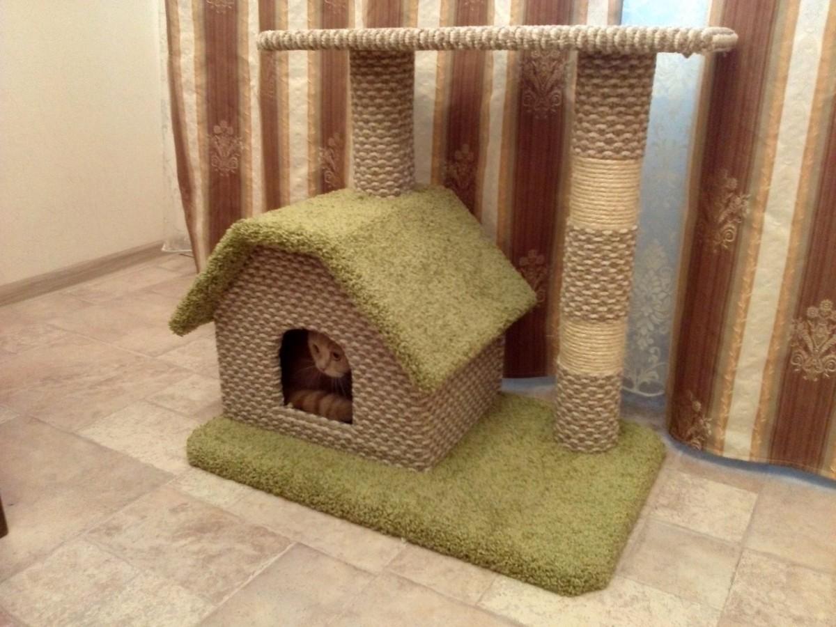 Домики для кошек с когтеточкой своими руками фото 843