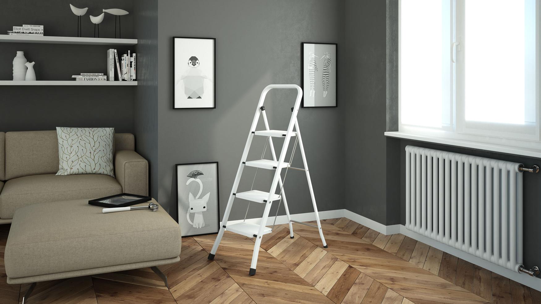 Стремянки с широкими ступенями для дома как выбрать алюминиевую стальную и деревянную модели с резиновыми ступеньками Особенности бытовых стремянок-лестниц для квартиры