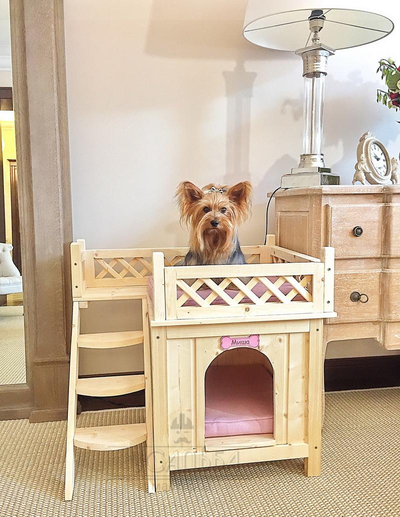 Домики для собак двухэтажные