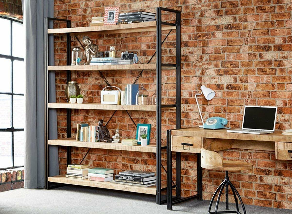 Стеллажи в стиле лофт (72 фото): из металла и дерева, бетонные и  металлические перегородки, угловые стеллажи для книг и из труб в интерьере