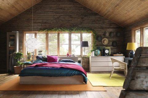 Спальня в деревянном доме: фото дизайна интерьера и оформления ... | 320x480