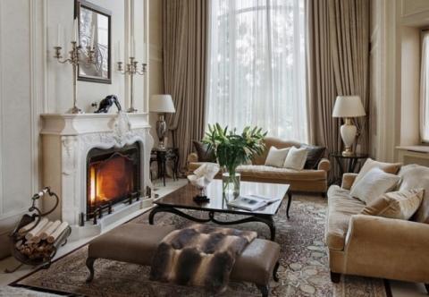 Гостиная с камином: дизайн интерьера зала, 60 фото идей в разных ... | 332x480