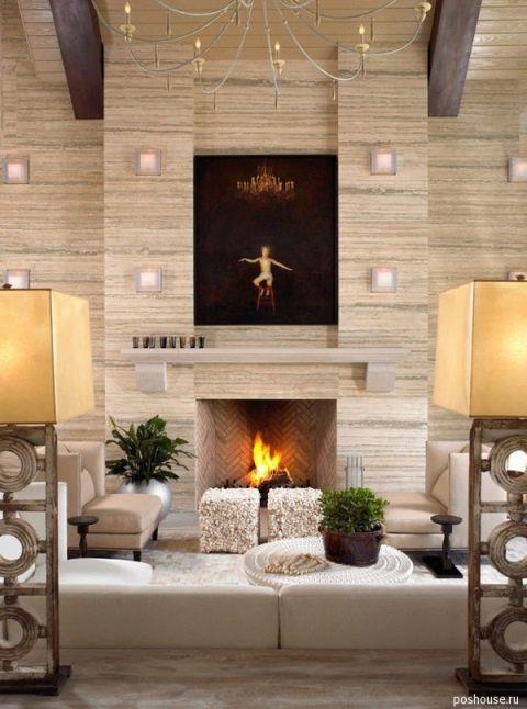 Интерьер гостиной с камином: 59 фото, идеи дизайна | 646x480