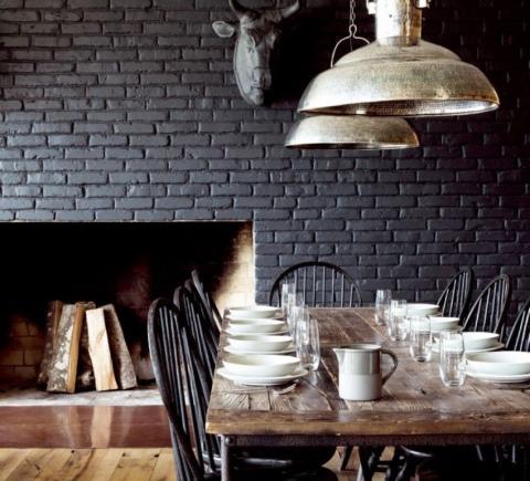 Черный кирпич: кирпичная стена-фон в стиле лофт