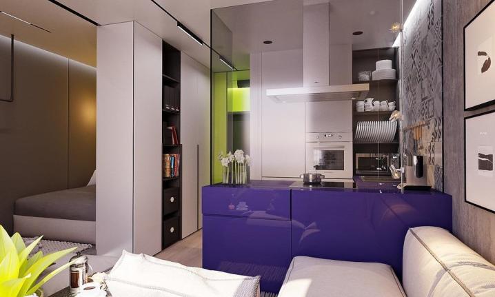 Кухня студия 27 кв м дизайн