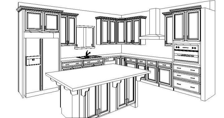 кухня с островом чертеж